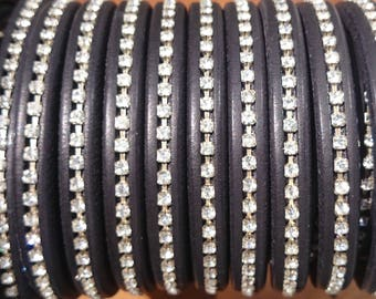 Strass crystal licorice leather cord, 8 inch/20cm piece, 10x6mm thick leather cord, made in Spain regaliz leather, licorice bracelet leather