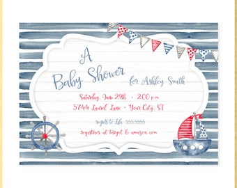 Nautical Water Color Baby Shower Invitation