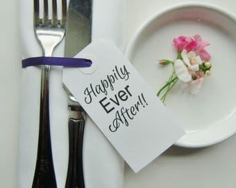 Rehearsal Dinner-HAPPILY EVER AFTER-Rehearsal Place Cards-Elegant White Tags-Rehearsal Table Decor-Rehearsal Napkins-Wedding Rehearsal