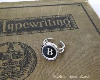 Typewriter Key Vintage Letter B Ring