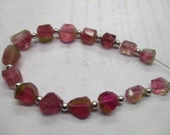Stunning 15 pc 7-9 mm  Beautiful Polished  Watermelon  Tourmaline  Beads Strands Afghanistan beads T 96