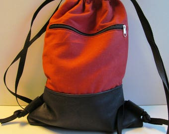 Canvas backpack red with genuine leather