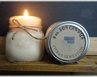 Citrus Sensation 8 oz Soy Candle, Soy Wax Candle, Citrus scent