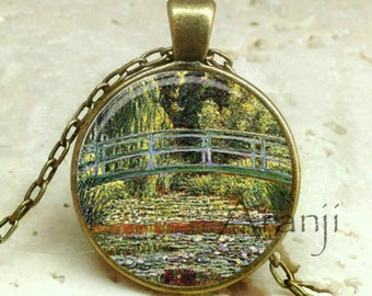Monet's The Japanese Footbridge and the Water Lily Pool, Giverny fine art pendant, Monet bridge necklace, Monet necklace, Pendant #AR133BR