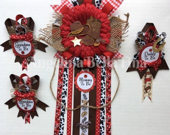 NEW Cowboy/Cowgirl/Rodeo/Western Themed Mommy,Daddy & Grandma To Be Corsage Set