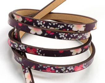 3 Feet Deep Black-Purple Flower Printed Vegan Faux Leather Flat Cord 5mm