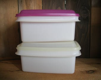 Vintage Tupperware Ice Cream Container-Plastic Storage Box-Tupperware Plastic Containers-Tupperware Canister