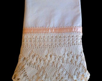 PILLOWCASE, Vintage STUNNING Single Crocheted, Needle Lace, Peach Ribbon, Antique Pillowcase, Standard, Cotton, Bedding, Linens, Crocheted