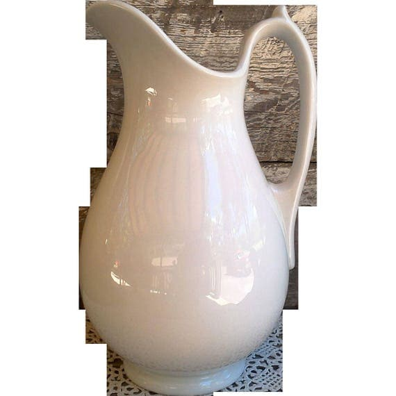 Antique J. Wedgwood White Ironstone Pitcher