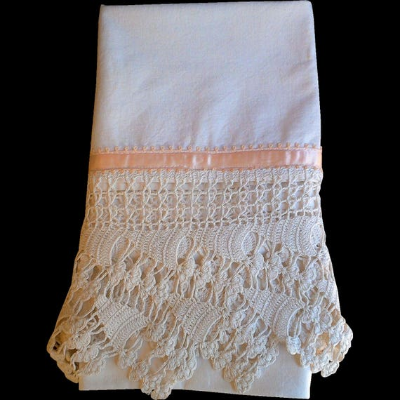 PILLOWCASE, Vintage STUNNING Single Crocheted, Needle Lace, Peach Ribbon, Antique Pillowcase, Standard, Cotton, Bedding, Linens, Crocheted