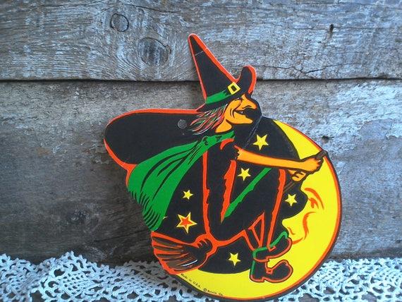 Vintage halloween decor witch and moon halloween beistle die cut cardboard paper decoration window decor halloween treat halloween gift