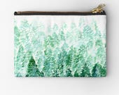 Pine Tree Pouch, forest pouch, tree makeup bag, green makeup bag, forest makeup bag, forest gift, tree pencil pouch, green pouch