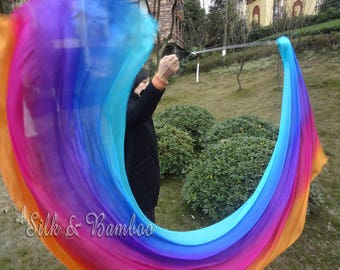 1pc detachable Long Irridescence 2.7m*0.9m dance silk veil poi, hand painted 5mm silk veils, hand rolled edges