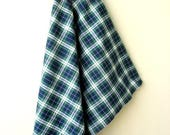 Flat 40% off Green, Navy and White Yarn Dyed Woven Plaid Cotton Fabric Sold by Yard