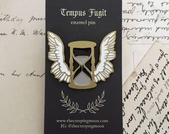 Hourglass enamel pin, tempus fugit, victorian inspired, antiquity, goth lapel pin, gothic, memento mori