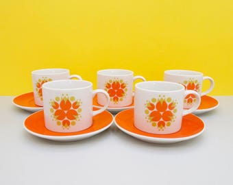 Schmid Kreglinger 'Kelco' Lagardo Tackett-designed teacups/saucers, set of five