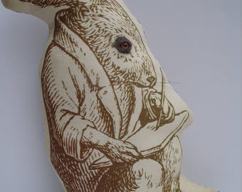 The Spare Bedroom Hare Soft Sculpture Textile Art Ornament Plush 'Printed Animal'  Series....No. 2