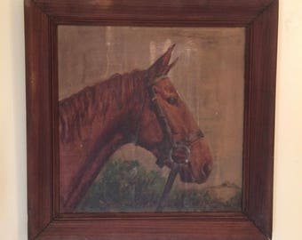 """Horse Painting """" Big Red"""" Original 1951 Artist Smith Oil on Board"""