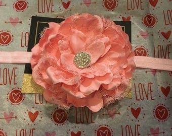 Large Pink Lace Flower Elastic Headband