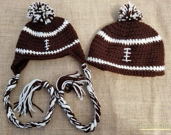 Crochet Football Hat- Football earflap hat- football- football beanie- all sizes