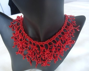 Ruby Red 'coral' seed beads necklace