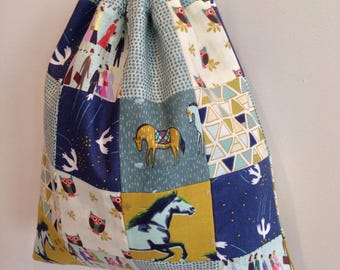 Drawstring fabric bag, packaged drawstring pouch, knitting project bag, travel bag, one of a kind patchwork pouch, large size drawstring bag