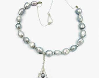 Silver baroque pearl necklace, chain necklace, freshwater cultured pearl necklace, UK shop, real pearl necklace, June birthstone necklace