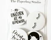 Unicorn Pin Badge Set, Unicorn Badge, Unicorn, Pin Badge, Monochrome, Scandi, Gift for Girls, Secret Santa, Christmas Gift, Christmas Badge