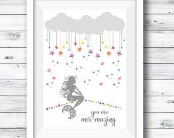 Mermaid Print, Mermazing, Personalised Mermaid, Room Decor, Rainbow Stars, Gift for Her, Nursery Print, Mermaid, Children's Room, Nursery