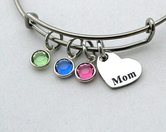Stainless Steel  Family Birthstone  Charm Bracelet, Stainless Steel Mom Heart, Swarovski Birthstones, Mother's Day, Gift for Mom