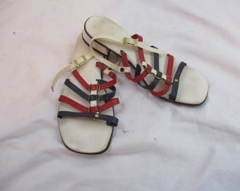 Vintage 60s Red White and Blue Strappy Sandals Chunky Low Heel Sz 8