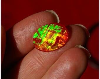 Cabochon applique tassel flat orange iridescent effect, drilled on each side, 2.7 cm x 1.3 cm x 1
