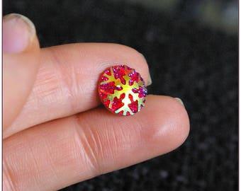 Cabochon 12mm dark red snow Star Spangled x 1