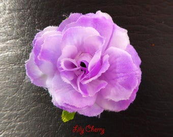 Small pink artificial flower purple gradient for hair decoration x 1