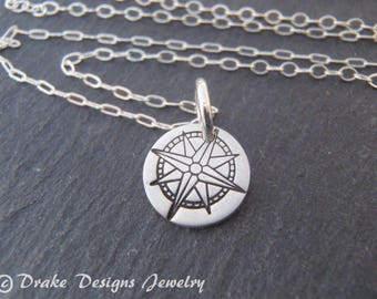 sterling silver compass necklace inspiration graduation gift for her