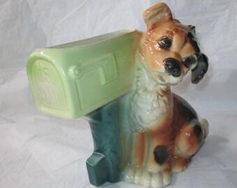 """Vintage 1940s Royal Copley  DOG AT MAILBOX 8.25"""" Green & Brown Planter"""