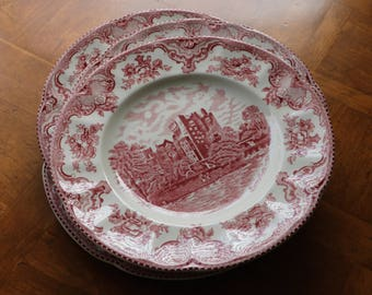 """Johnson Brothers """"Old Britain Castles"""" Pink and White Ironstone Transferware - Set of Four Dinner Plates"""