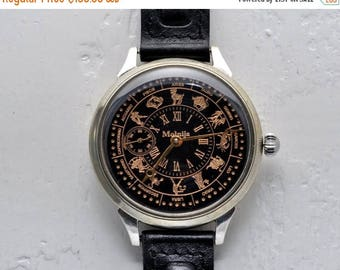 "ON SALE Soviet watch ""Molnija""- Zodiac signs watch, Vintage Watch ,Pocket watch, Russian watch"