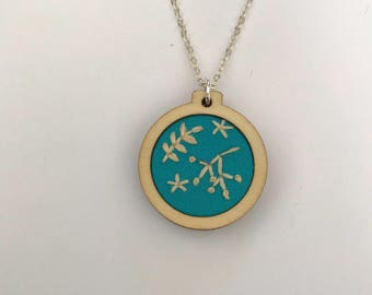 Embroidered hoop necklace