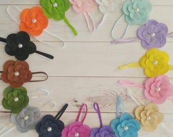 felt flower headband, flower headband, baby headband, baby headbands, baby shower, hairband, baby gift, girls headband