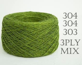 Laceweight mixed colors Linen yarn. Linen crochet thread, weaving yarn