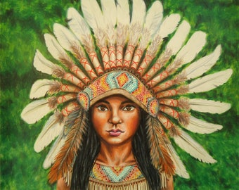 Native American Drawing - Warbonnet - Indian Headdress - Warbonnet art - Headdress art - Native artwork - Native American headdress - Art