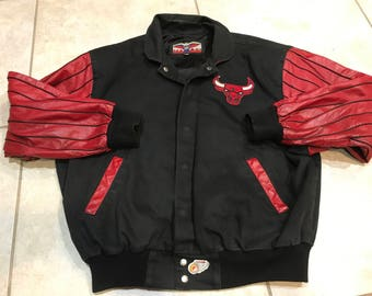 Vintage 90's Jeff Hamilton Chicago Bulls Leather Jacket XL NBA streetwear jordan