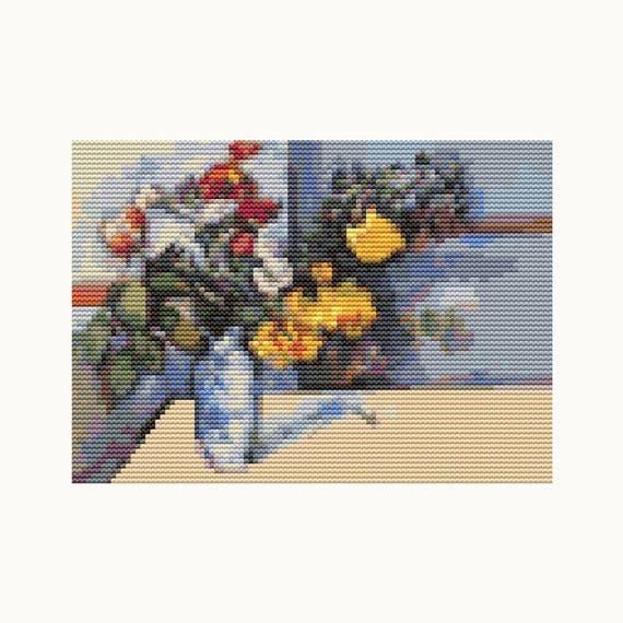MINI Cross Stitch Pattern PDF - Still Life - Paul Cezanne - Floral Cross Stitch - Instant Download (TAS133)