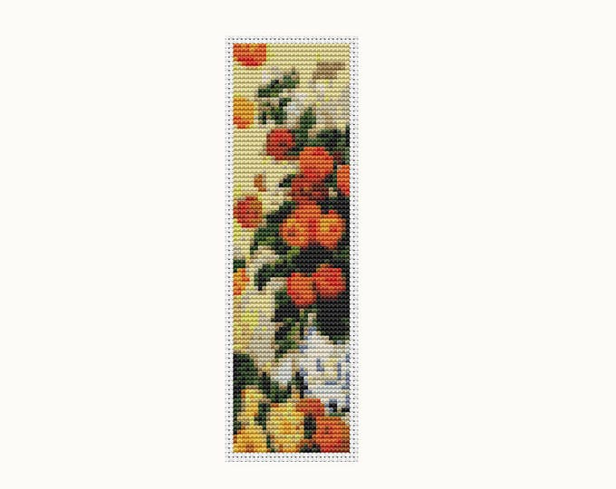 Bookmark Cross Stitch Pattern PDF, Embroidery Chart, Art Cross Stitch, Stitch Bookmark, Dahlias by Claude Monet (BK10)