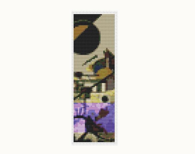 Bookmark Cross Stitch Pattern PDF, Embroidery Chart, Art Cross Stitch, Contrasting Sounds by Wassily Kandinsky (BK30)