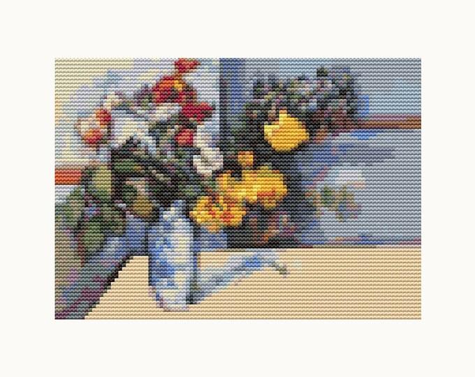 Mini Cross Stitch Pattern PDF, Embroidery Chart, Art Cross Stitch, Floral Cross Stitch, Still Life by Paul Cezanne (TAS133)