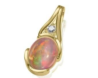 10x8mm Australian Black Opal Pendant w/ 0.04ct Diamond in 14K or 18K Gold 1.79TCW Sku: N2419
