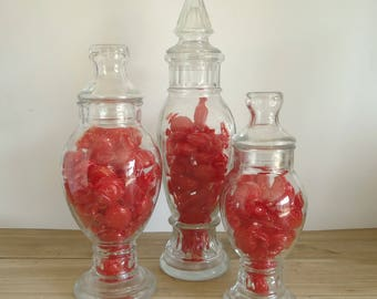 Vintage Glass Candy Jars, Vintage Apothecary Jar, Bathroom Storage,  Organization, Bathroom Storage