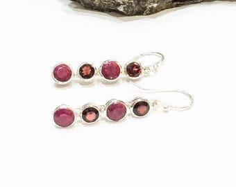 SALE Ruby and Garnet 925 Silver Earrings